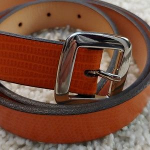 NWOT Banana Republic Orange Leather Croc Belt